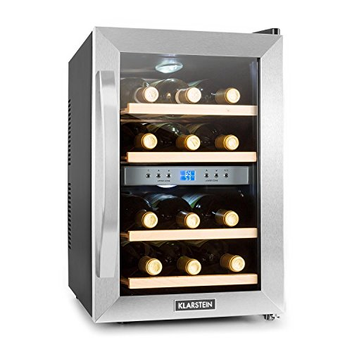 Klarstein Reserva - Weinkühlschrank, Getränkekühlschrank, Kühlschrank, 34 Liter, 2 programmierbare Kühlzonen, 12 Weinflaschen, 7-18 °C, Innentemperaturanzeige, schwarz-silber