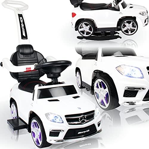 Stimo Mercedes Benz AMG Rutschauto (offiziell lizenziert) mit Wippfunktion und MP3 Player Kinder Fahrzeug Rutscher Auto (AMG 63er SUV Weiß)