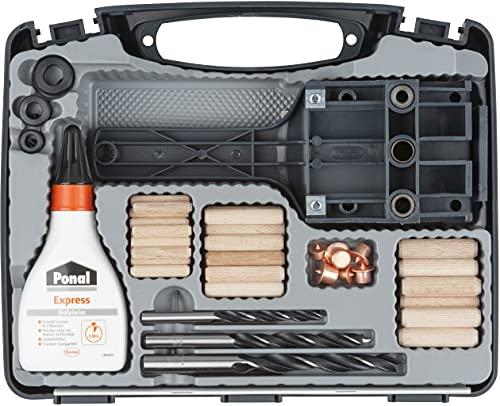 wolfcraft Universal-Meisterdübler-Set 4645000   78-teiliges Komplett-Starter-Set zur Herstellung von sauberen Holzverbindungen mit Ø 6, 8 und 10 mm Holzdübeln