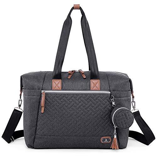 Wickeltasche - Dikaslon Große Windeltaschen für Mama und Papa - stilvolle Reisetasche mit Schnullerhalter und Wickelauflage (Dunkelgrau)