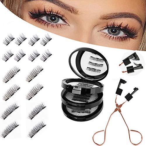 Magnetische Wimpern 3D Künstliche Wimpern Set, Wiederverwendbare Dual Magnetic False Eyelashes mit Hilfspinzette + Aufbewahrungskiste, Falsche Wimpern Natürlich Look, 4 Paar 16 Stück
