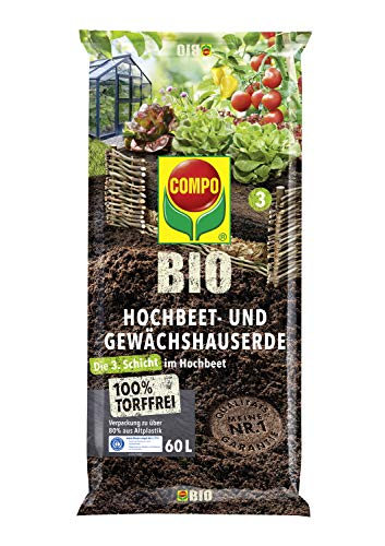 COMPO BIO Hochbeet- und Gewächshauserde, Zur Verwendung als 3. Schicht im Hochbeet, Torffrei, 60 Liter