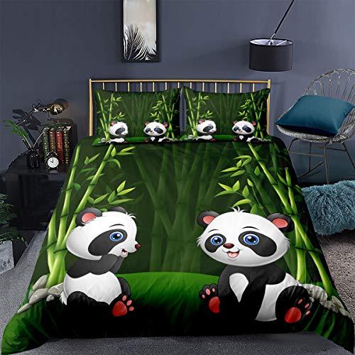 Bettwäsche-Set 2/3 STK Niedlich 3D Panda Bär Pflanze Bambus Muster Mikrofaser Wildlife Animal Decor Bettbezug mit Kissenbezügen Für Jugendliche Mädchen Jungen (Bunt D, 135 x 200 cm)