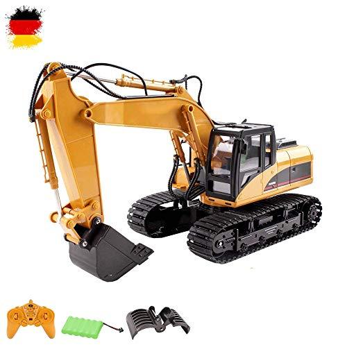 16-Kanal RC ferngesteuerter Raupenbagger mit Holgreiferarm 2.4GHz Edition, hochwertige Verarbeitung viele Metallbauteile, 680° Grad Drehfunktion, Licht, Sound, Baustellen-Fahrzeug, Komplett-Set