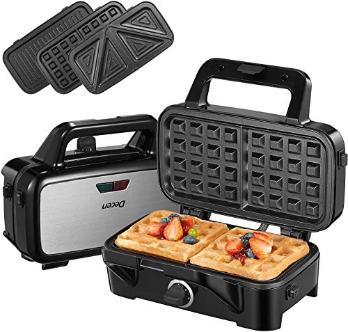 Sandwichmaker 3 in 1(Waffeleisen, Sandwichtoaster, Kontaktgrill), 1200W & 5-Gang-Temperaturregelung mit 3 Abnehmbare Platten, Antihaftbeschichtung, LED-Anzeigeleuchten und Cool Touch-Griff