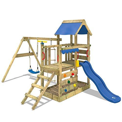 WICKEY Spielturm TurboFlyer - Klettergerüst für die ganz Kleinen mit Schaukel, Strickleiter, Sandkasten, Kletterwand und -leiter, blauer Plane und blauer Wellenrutsche