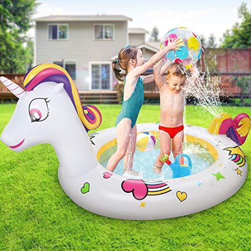 Jojoin Aufblasbares Planschbecken, 230 * 126 * 106CM Schimmbad mit Fontäne Einhorn und wunderschönem Muster, tolles Sommergeschenk für Kinder 3+