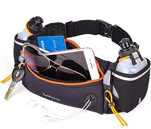LotFancy Gürteltasche Trinkgürtel Sport Laufgürtel mit 2 Trinkflasche (BPA Frei) Bauchtasche, Komfortabel und Atmungsaktiv für Marathon Joggen Radfahren Campen Reisen Outdoor (Orang)