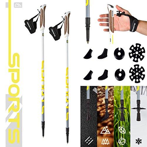 MSPORTS Nordic Walking Stöcke Premium White - hochwertige Qualität - Superleicht - auswählbar mit Tragetasche - Walking Sticks (Nordic Walking Stöcke + Tasche)