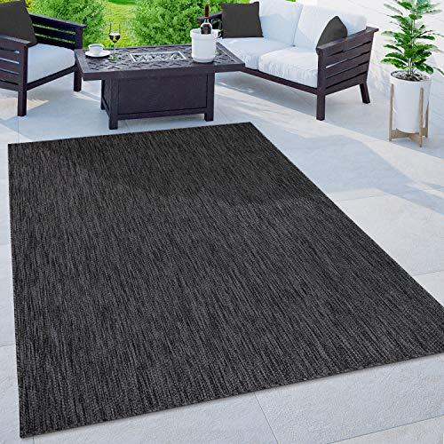 Paco Home In-& Outdoor Teppich Balkon Terrasse Küchenteppich Einfarbig Meliertes Muster, Grösse:300x400 cm, Farbe:Anthrazit