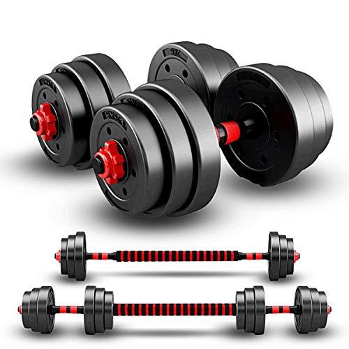 ARUNDO Hantelset 20 kg,2 in 1 Hantel-Langhantel-Hebeset Workout-Gewichtsset für Heim-Fitnessgeräte Hebeset Krafttrainingsgerät,rutschfestes,verstellbares Hantel-Set