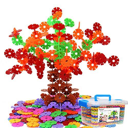 Genossen Kinder Spielzeug, Lernspielzeug Bausteine, Schneeflocken Set, Interlocking Ungiftig Kunststoff 500 Stücke Mehrfarbige für Kinder