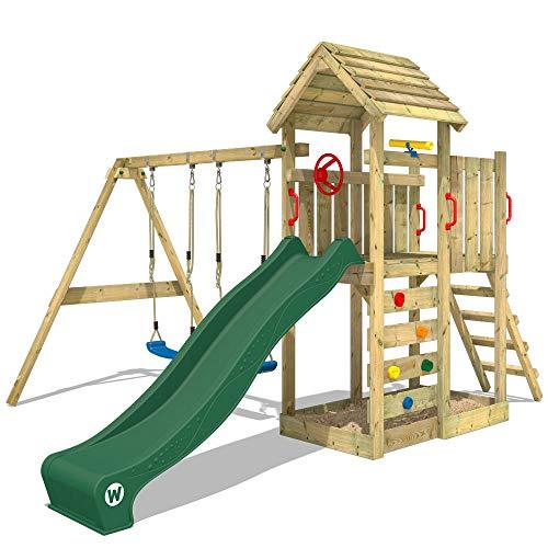 WICKEY Spielturm Klettergerüst MultiFlyer Holzdach mit Schaukel & grüner Rutsche, Kletterturm mit Holzdach, Sandkasten, Leiter & Spiel-Zubehör
