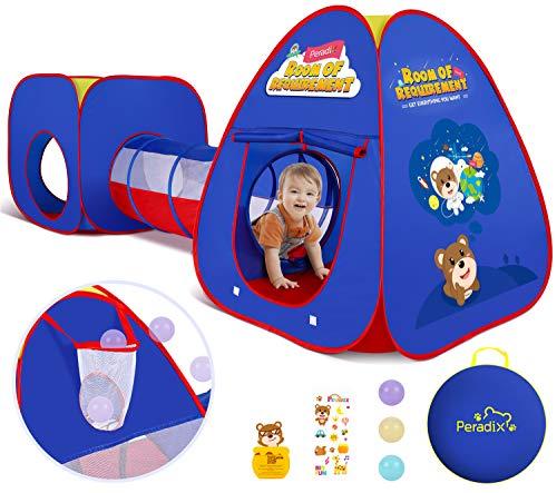 Peradix Spielzelt mit Tunnel, Pop up kinderzelte 3 in 1 mit Aufbewahrungstasche, Babyzelt krabbeltunnel für Jungs mädchen Zuhause & im Garten (Blau)