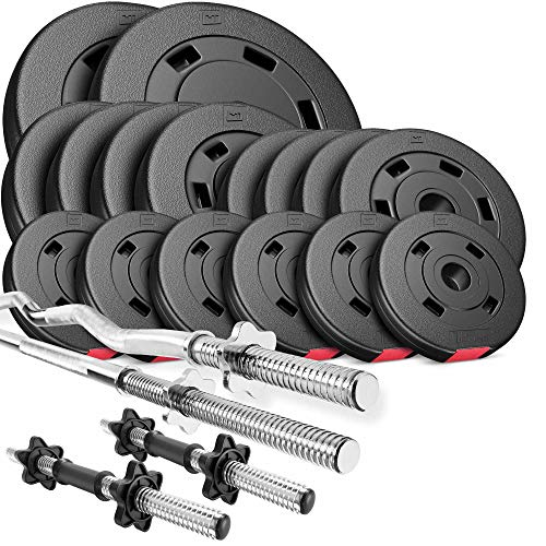 Hop-Sport Hantelset 75 kg 1x Langhantel-Stange, 1x SZ Curl-Stange, 2X Kurzhanteln, Gewichte 2x10kg / 4x5kg / 4x2,5kg / 6x1,25kg