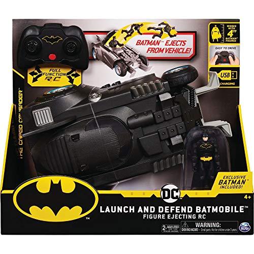BATMAN 6055747 Batman ferngesteuertes Batmobil mit Schleuderfunktion und exklusiver 10cm großer Batman Action-Figur