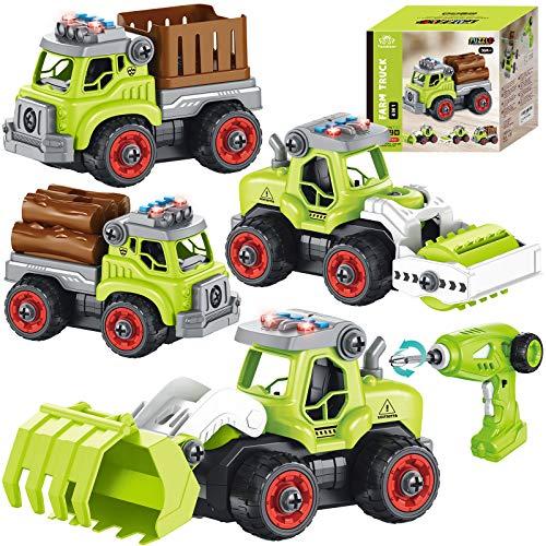4 in 1 Montage Bauernhof Fahrzeug Kinder ferngesteuert Traktor Fahrzeug Bagger Spielzeug Baustellenfahrzeuge mit Bohrmaschine Musik Licht STEM Spielzeug Geschenk für Kinder Jungen 3 4 5 6 7 8 Jahren