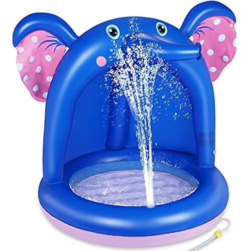lenbest Shade Babypool, Aufblasbarer Planschpool mit PVC-Überdachung & extra weicher Sprudelbasis, Sprinkle Splash Pool Spray Wasserspaß Sommer Gartenpool Outdoor Indoor für Kinder