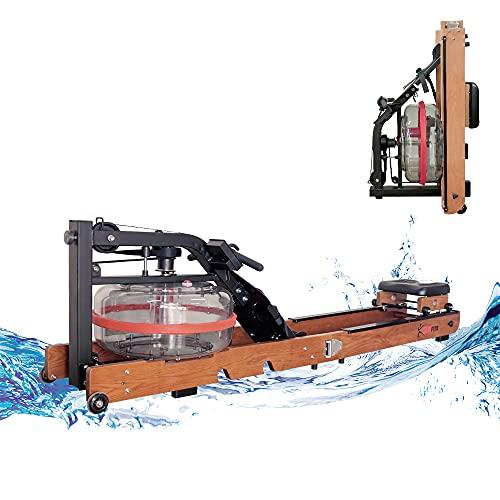 Fitifito WR19 Rudergerät Wasser-Rudergerät klappbar für zu Hause, vormontiert, max. 170kg, 17L Wassertank, Wasserwiderstand, 120 cm Aluminiumgleitschiene, LCD-Display Holz Esche