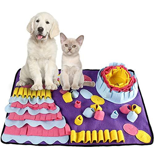 smatcamp Schnüffelteppich Hund Intelligenzspielzeug für Hunde Waschbar Faltbar rutschfest Schnüffbelmatte Hundespielzeug Intelligenz Spielzeug für Hunde Katzen (27.5'' x 19.7'')