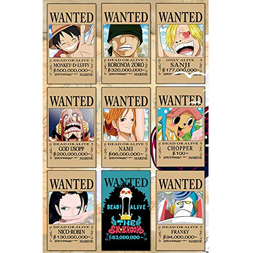 SGOT 9er Set Anime One Piece Gesuchte Poster 42x29cm, Neuauflage, Luffy Zoro Boa·Hancock Nami Poster
