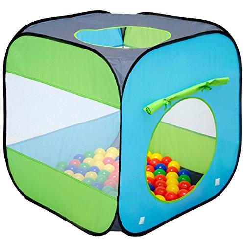 LittleTom Bällebad Spielzelt 70x70x72cm - Popup Baby Spielhaus Kinder-Zelt Blau