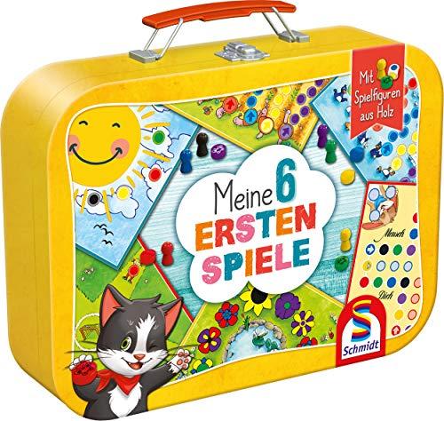Schmidt Spiele 40591 Meine 6 ersten Spiele im Metallkoffer, Kinderspielesammlung, bunt
