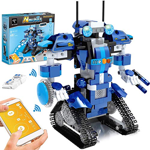 GPTOYS Roboter Kinder Bausteine Spielzeug Programmierbar Ferngesteuert App-Gesteuertes STEM Technik Roboter Bausatz Mint Spielzeug für Kinder