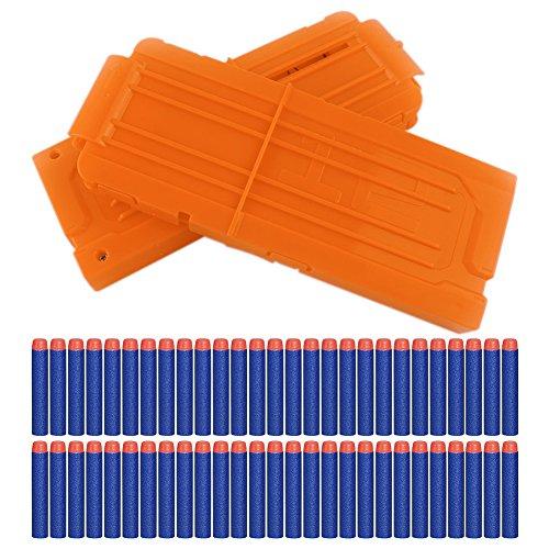 Yosoo 2 Stück Nerf Darts Schnell Nachladen Clip mit 60 Stück Elite 7,2cm Darts für Nerf N-Strike Elite