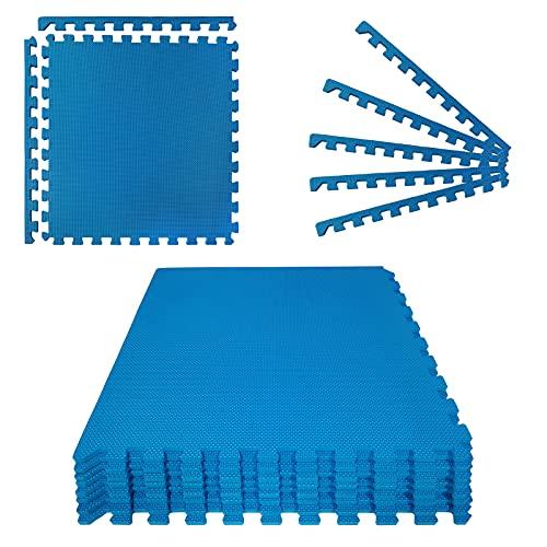Montafox Unterlegmatte 1 cm Dicke Poolmatte 8er Set blau 60 x 60 cm Bodenfliesen Pool Whirlpool Erweiterbares Stecksystem