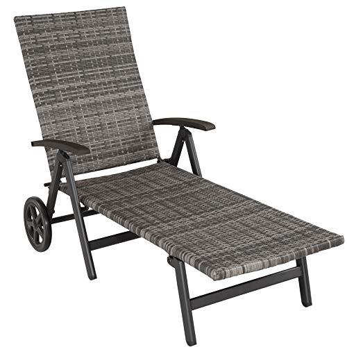 TecTake 800722 Aluminium Poly Rattan Sonnenliege mit Armlehnen und Rollen, klappbar, Gartenliege mit höhenverstellbarer Rückenlehne - Diverse Farben - (Grau   Nr. 403219)