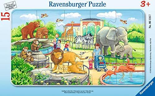 Ravensburger Kinderpuzzle 06116 - Ausflug in den Zoo - Rahmenpuzzle