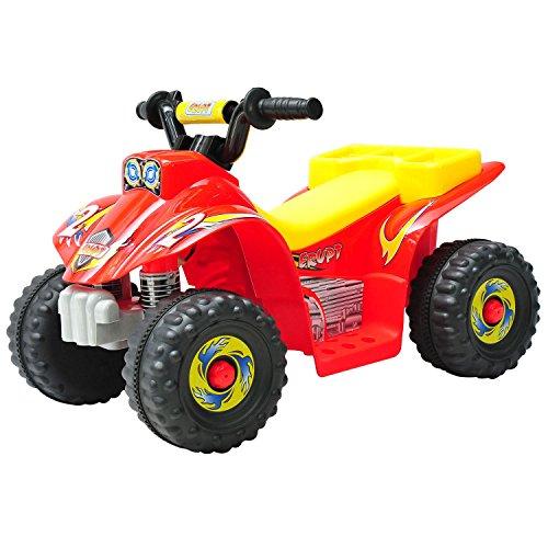 HOMCOM Kinderauto Kinderwagen Elektroauto Kinderfahrzeug Kindermotorrad Quad Elektroquad Kinderquad Elektromotorrad (Elektroquad/rot-gelb)