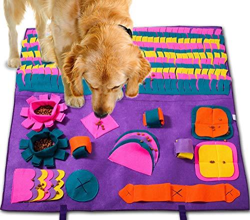 PATIO PLUS Schnüffelteppich Hund, 90x90cm Groß Pet Matten für Hunde Soft Pet Nase Arbeit Geruch Snuffle Matte Train Fütterung Faltbarer Filzstoff Schnüffelteppich, Lila