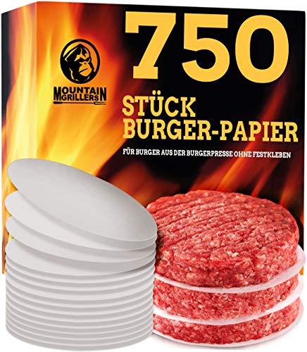 Mountain Grillers Burgerpapier (x750 STK.) - Antihaftes Trennpapier mit 11,5 cm Durchmesser für perfekte Hamburger, Cheeseburger, Patties - Wachspapier Antihaftpapier Backpapier Grillzubehör