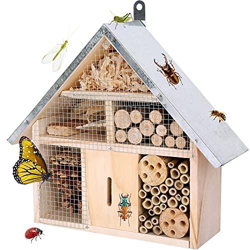 Itslife Insektenhotel Hängendes Naturholz Insektenhaus aus Geschraubtem Massivholz für Bienen, Marienkäfer, Florfliegen & Schmetterlinge, Bienenhotel & Nisthilfe