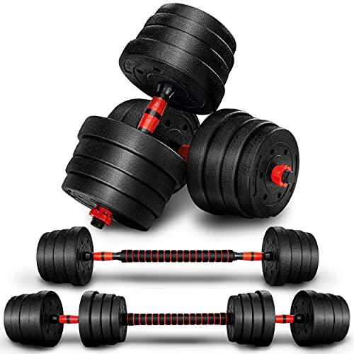 RE:SPORT 2 in 1 Hanteln Set 30 kg   Hantelset verstellbar   Kurzhantel & Langhantel   Sternverschlüsse & Verbindungsrohr
