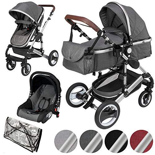 ib style® SOLE 3 in 1 Kombi Kinderwagen   inkl. Auto Babyschale   Zusammenklappbar   inkl. Regen- & Mückenschutz   0-15kg  Grau/Gestell: Silber
