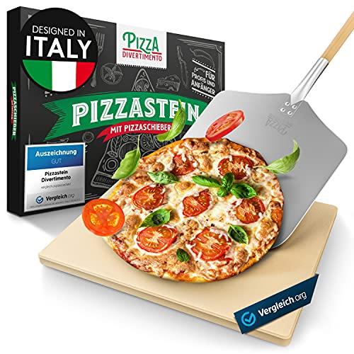 Pizza Divertimento [DAS ORIGINAL - Pizzastein für Backofen und Gasgrill – Mit Pizzaschieber – Vergleich.org ausgezeichnet - Pizza Stein aus Cordierit – Für knusprigen Boden & saftigen Belag