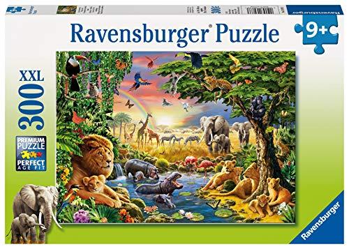 Ravensburger Kinderpuzzle 13073 - Abendsonne am Wasserloch - 300 Teile