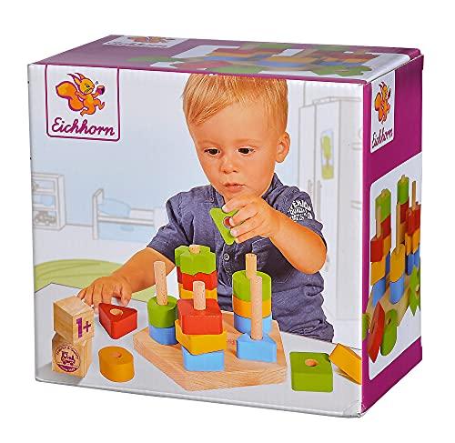 Eichhorn 100002087 Steckplatte, 21-teilig, Buchenholz, 5 verschiedene Stecksymbole, 20 Steckteile, für Kinder ab 12 Monaten, Größe: 18 x 10 cm
