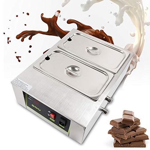 Fetcoi Schokoladenschmelzgerät 2 Schmelztöpfe - Kommerziell Temperiergerät Schokolade Schmelzgerät Schmelzmaschine Schoko Schmelzer Schmelztiegel für Kuvertüre Milch Sahne Seife Kapazität:10 kg