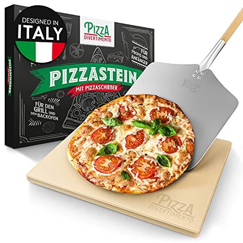 Pizza Divertimento Pizzastein für Backofen und Gasgrill – Mit Pizzaschieber – Pizza Stein aus Cordierit – Pizza Stone für knuspriger Boden & saftiger Belag