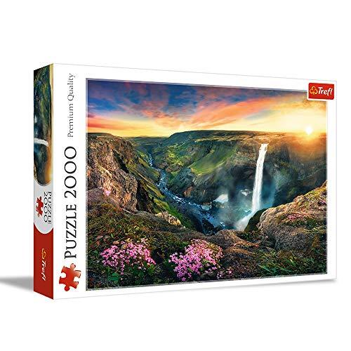 Trefl TR27091 Wasserfall Haifoss, Island 2000 Teile, Premium Quality, für Erwachsene und Kinder ab 12 Jahren Puzzle, Farbig