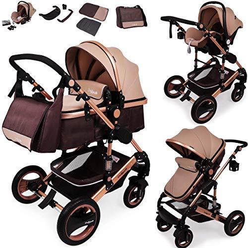 Daliya Bambimo 3 in 1 Kinderwagen - Kombikinderwagen Riesenset 14-Teilig incl. Babywanne & Buggy & Auto-Babyschale - Alu-Rahmen/Voll-Gummireifen - Wickeltasche/Regenschutz/Kindertisch in Braun Gold