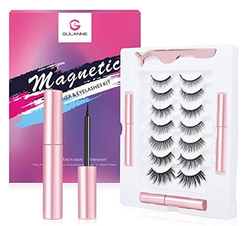 GULANNE Magnetische Wimpern mit Eyeliner, falsche Wimpern, 7 Paar magnetische Wimpern mit 3 Röhren Verbesserter magnetischer Eyeliner