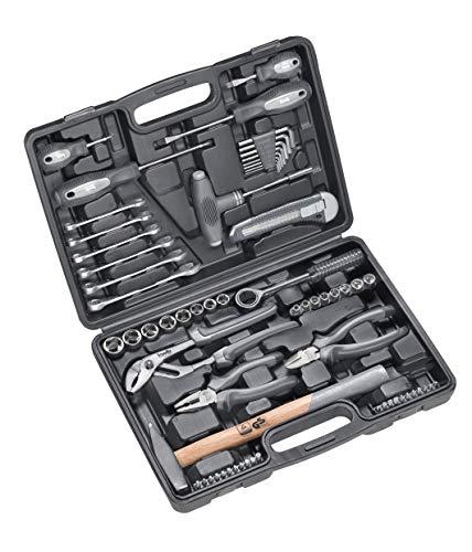 kwb Heimwerker-Set, 63-teiliger Werkzeug-Koffer inkl. Werkzeug-Set bestückt, im Kunstoffkoffer