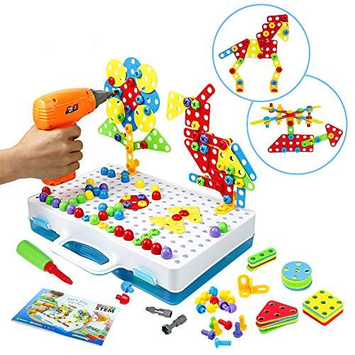 Symiu Mosaik Steckspiel Schraube Spielzeug - 3D Puzzle Pädagogisches Spielzeuge mit Elektronischem Bohrer Baustein Spielzeug Geschenkidee für Kinder Junge Mädchen ab 3 4 5 Jahre Alt