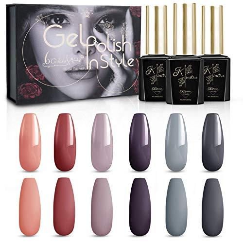 Kiaitre UV Nagellack Gel Nagellack Set- 6 Farben Soak Off LED Nageldesign Kit mit Geschenkbox (10ml) für Valentinstag