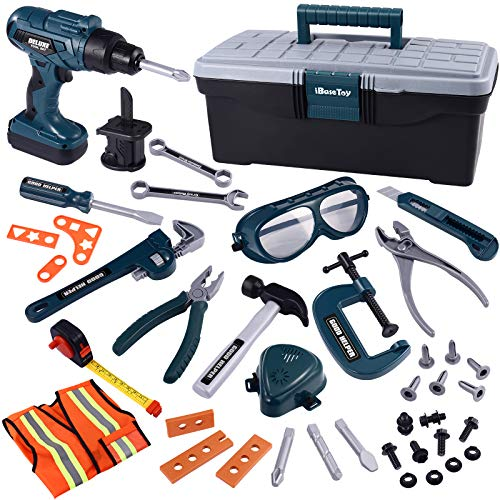 iBaseToy Werkzeug Box Spielwerkzeug Werkzeugkoffer Werkzeug mit Bohrmaschine Akkuschrauber Kinderspielzeug Rollenspiele Werkzeug Geschenk für Kinder Elektrowerkzeug-Spielset